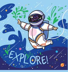 Explore cute cartoon astronaut flies with green vector