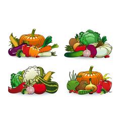 farm vegetables icons cartoon veggies set vector image
