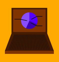Flat icon on stylish background laptop chart vector