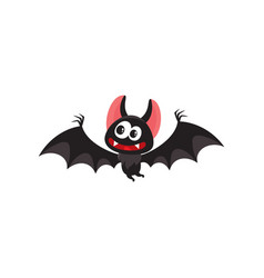 flying crazy vampire bat traditional halloween vector image