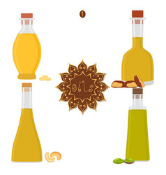 for set various bottles oil vector image