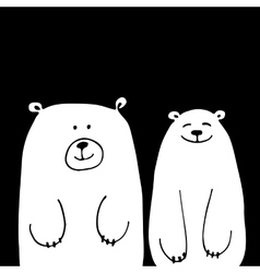 Funny white bears sketch for your design vector