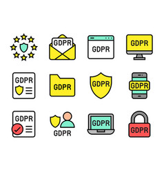 gdpr general data protection regulation icon set vector image