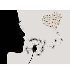 Girl and a dandelion2 vector image