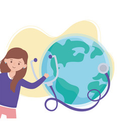 girl with stethoscope and world save planet vector image