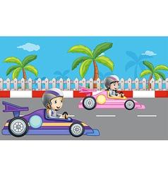 Girls car racing vector image