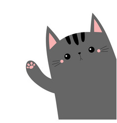 Gray cat animal kitten kitty waving hand cute vector