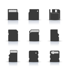 Gray memory card icons vector