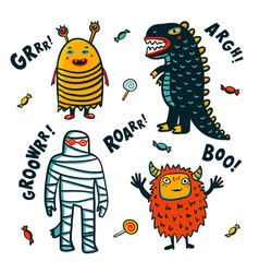 halloween costumes on white background vector image