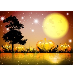 Halloween Moon Night Lake vector