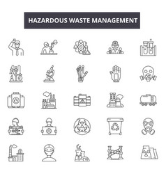 Hazardous waste management line icons for web and vector