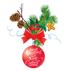 holiday card with ribbon and bow fir tree cone vector image
