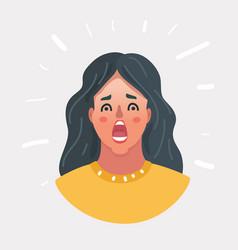 horrible stress shock female face vector image