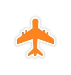 Icon sticker realistic design on paper plane vector