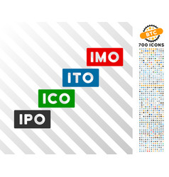 Imo levels flat icon with bonus vector