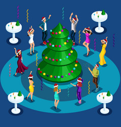 isometry is a new years party corporate dancing vector image