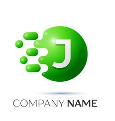 j letter splash logo green dots and circle bubble vector image