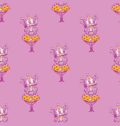 king wearing huge crown seamless pattern vector image