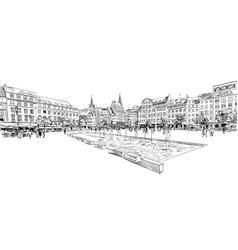 kleber square strasbourg france hand drawn vector image
