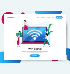 landing page template wifi signal with laptop vector image