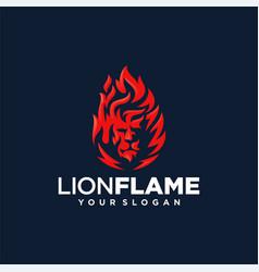 Lion flame fire logo design vector