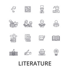 Literature book writing library music reading vector