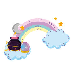 Magic witch cauldron with crystal ball in rainbow vector