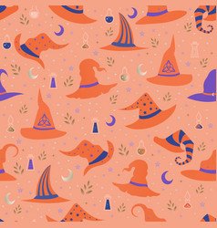 magic witch hats each with a unique pattern vector image