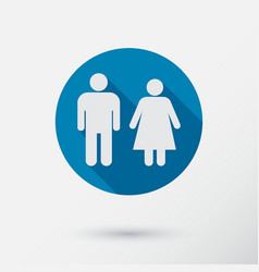 Male and female restroom symbol icon flat design vector