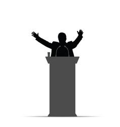 Man silhouette orator speak vector
