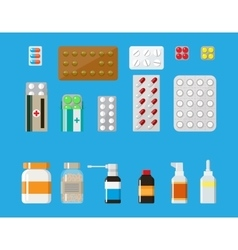 Medicine pills capsules and bottles set vector image