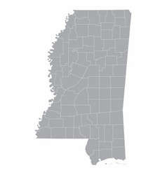 mississippi state counties map vector image