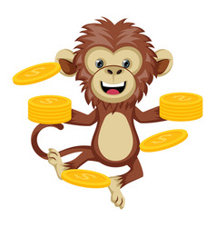 Monkey with coins on white background vector