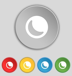 Moon icon sign Symbol on five flat buttons vector
