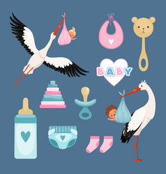Newborn icons set cute items for kids dresses vector