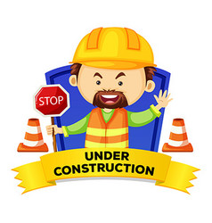 Occupation wordcard with word under construction vector