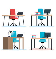 office workplaces scenes icons vector image