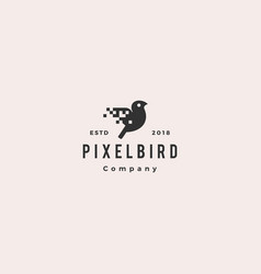 pixel bird digital logo hipster retro vintage icon vector image