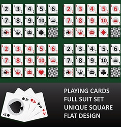 Playing cards full suit set vector image