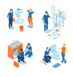 plumbing service isometric concept vector image