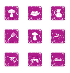 Private plot icons set grunge style vector