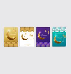 Ramadan kareem set posters or invitations vector