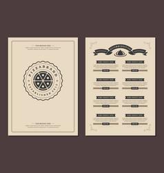Restaurant logo and menu design brochure vector