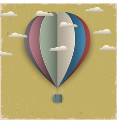 Retro hot air balloon and clouds from paper vector image