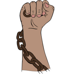 Right hand man holding an iron brown chain vector