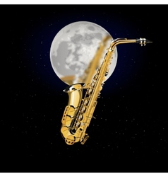 saxophone on a background of the moon vector image