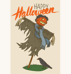 scarecrow for halloween with crow greeting card vector image