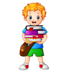 school boy holding stack of books vector image