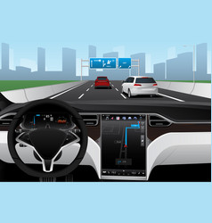Self driving car on a road autonomous vehicle vector