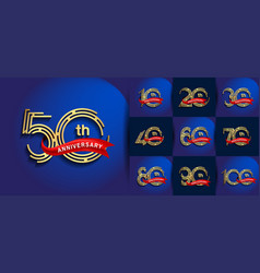Set anniversary logotype with abstract number vector